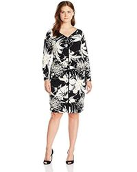 8a26877d25e Lyst - Adrianna Papell Plus Size Geo Cutout Back Contrast Floral ...