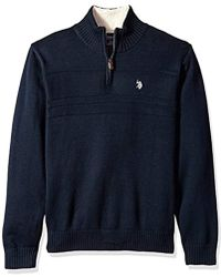 U.S. POLO ASSN. - Solid Texture Chest Stripe 1/4 Sweater - Lyst
