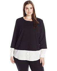 Calvin Klein - Plus Size Thermal Two-fer Top With Shirting Detail - Lyst
