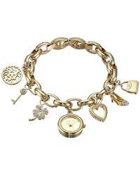 Anne Klein - 10-7604chrm Swarovski Crystal Gold-tone Charm Bracelet Watch - Lyst