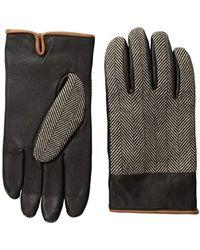 Original Penguin - Woolen Herringbone Leather Gloves - Lyst