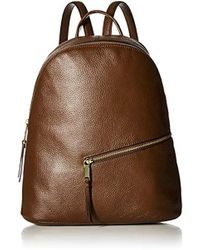 Calvin Klein - Dali Pebble Leather Diagonal Front Zip Backpack, Walnut, One Size - Lyst