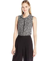 Vince Camuto - Sleeveless Mock Neck Texture Tweed Shell Blouse - Lyst