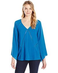 James & Erin - Bell-sleeve V-neck Top With Stitch Detail - Lyst
