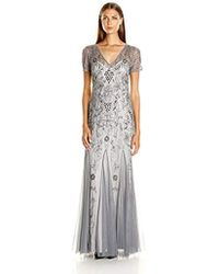 Adrianna Papell - Short Sleeve Beaded Godet Gown - Lyst