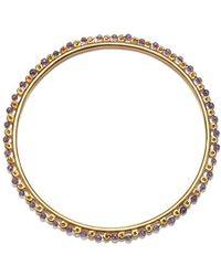 Satya Jewelry - Amethyst Gold Wrapped Bangle Bracelet, Purple, One Size - Lyst