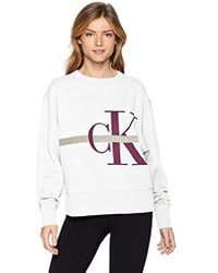 f4ba8f1d8 Lyst - Calvin Klein Pf8t558 Raglan Logo Fleece Crew Neck Pullover in ...