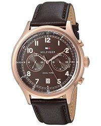 Tommy Hilfiger - Sport' Quartz Gold And Leather Casual Watch, Color:brown (model: 1791387) - Lyst