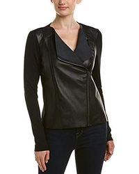 Michael Stars - Leather Mix Zip Moto Jacket - Lyst