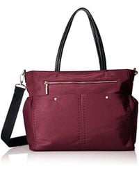 MILLY - Solid Stitch Diaper Bag, Burgundy - Lyst