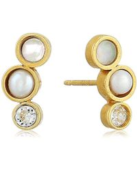 Dogeared - Playing By Ear Two Hole Lip Card Trio-opalescence, Pearl Crystal Stud Earrings, Gold - Lyst