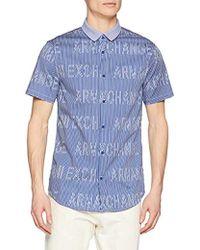 Armani Exchange - | Short-sleeve Logo Cotton Button Down - Lyst