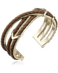 Cole Haan - Leather Items Brown Chevron Metal And Braided Cuff Bracelet - Lyst