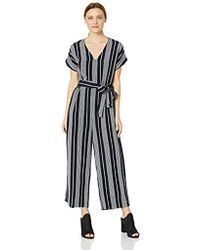 9f5720ba9eb Lyst - Rails Hallie Striped Cropped Belted V-neck Jumpsuit in Black