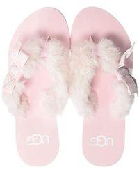 22accdd650c Lyst - UGG Flip Flops Fluff Slippers in Pink