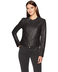 Via Spiga - Collarless Leather Jacket With Ponte Backing - Lyst