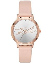 Karl Lagerfeld - Camille Quartz Stainless Steel And Leather Casual Watch, Color Rose Gold-tone, Pink (model: Kl2242) - Lyst