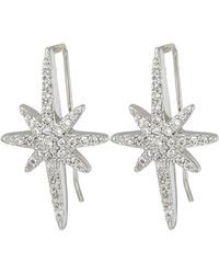 Betsey Johnson - S Blue By Silver Tone Earrings Climbers With Pave Crystal Accented Starburst - Lyst