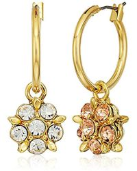 Badgley Mischka - Double Sided Stone Flower Hoop Earrings - Lyst