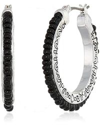 Napier - Jet Beaded Clickit Hoop Earrings - Lyst