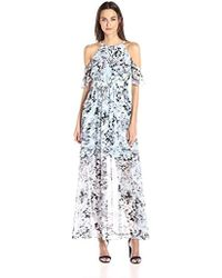 0a2dcb646b6 Lyst - Vince Camuto Printed Cold Shoulder Maxi in Pink - Save 8%