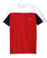 Lacoste - Short Sleeve Color Block Life Double Face Reg Fit T-shirt, Th3265 - Lyst