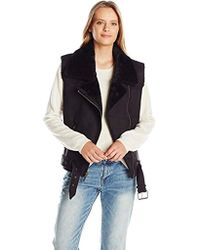 Dolce Vita - Faux Suede And Faux Shearling Combo Maelle Moto Vest - Lyst