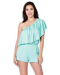 3b2a8acd8c4 Trina Turk - Ruffle Front One Shoulder Romper - Lyst