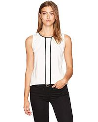 Calvin Klein - Sleeveless Woven Top With Center Front Piping - Lyst