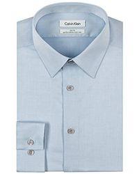 "Calvin Klein - Slim Fit Non-iron Herringbone Point Collar Dress Shirt, Blue, 17.5"" Neck 32""-33"" Sleeve - Lyst"