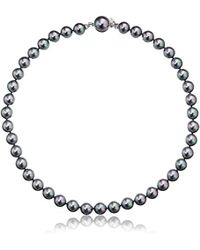 """Majorica - 10mm Gray Round Pearl Strand Necklace, 17"""" - Lyst"""