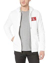 Calvin Klein - Monogram Logo Full-zip Hooded Sweatshirt - Lyst