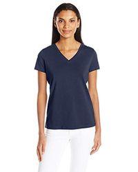 Nautica - Short Sleeve Stretch V Neck Solid Tshirt - Lyst