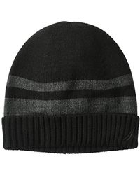 Nautica - Striped Hat With Ribbed Cuff - Lyst