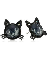 Betsey Johnson - Creepshow Cat Stud Earrings Black/pot Black Stud Earrings - Lyst