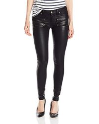 PAIGE - Edgemont Ultra Skinny Coated Jeans-black Silk - Lyst