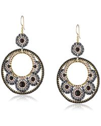 Miguel Ases - Onyx And Hematite Victorian Cut-out Drop Earrings - Lyst