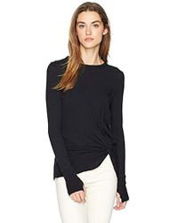Enza Costa - Cashmere Side Knot Long Sleeve Crew Top - Lyst