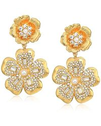 Badgley Mischka - Double Flower Crystal Pave Gold Clip On Earrings, One Size - Lyst