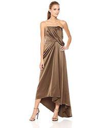 Halston - Strapless Draped Satin Gown - Lyst
