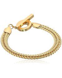 Anne Klein - Classics Gold Tone Flat Chain Flex Bracelet, One Size - Lyst