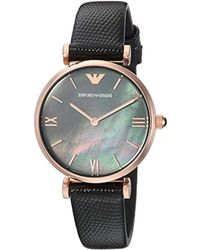 Emporio Armani - 'dress Quartz Stainless Steel And Leather Casual Watch, Color:black (model: Ar11060) - Lyst