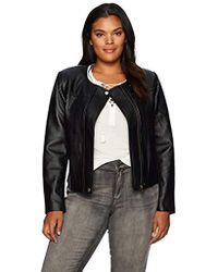 2bc609bc4b9 Lyst - RACHEL Rachel Roy Floral Moto Jacket in Black