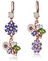 Betsey Johnson - Spring Fling Faceted Bead Flower Mismatch Drop Earrings - Lyst