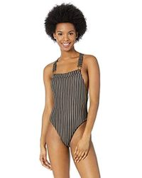 543add21abca1 Urban Outfitters Hurley Mesh Side Zip Up Onepiece Swimsuit in Black ...