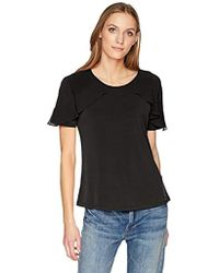 Calvin Klein - Short Sleeve Top With Chiffon Ruffle - Lyst