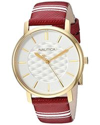 Nautica - 'coral Gables' Quartz Stainless Steel And Nylon Casual Watch, Color Red (model: Napcgs003) - Lyst