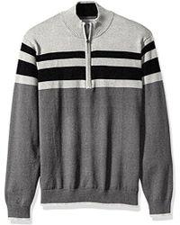 Izod - Fine Gauge Striped 1/4 Zip Sweater - Lyst