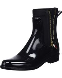 303fef1cf Tommy Hilfiger - Womens Black Material Mix Rain Boots Women s Wellington  Boots In Multicolour - Lyst