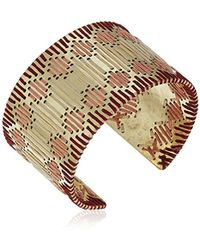 Lucky Brand - S Threaded Statement Cuff Bracelet, Gold, One Size - Lyst